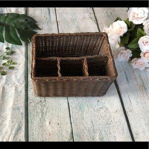 Other - 3/$25 Basket organizer dark brown wicker small
